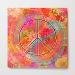 Hippie Chic Paisley Flowers Peace Metal Print
