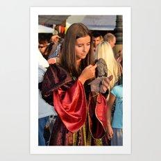 Renaissance Dressed Beauty and the Cute Little Beast Art Print