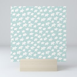 Stars on mint background Mini Art Print