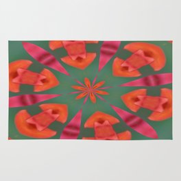 Succulent Red and Yellow Flower Abstract I Rug