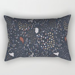 Random Shapes Geo Vector Pattern Seamless Navy Blue Rectangular Pillow