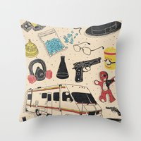 breaking Throw Pillows featuring Artifacts: Breaking Bad by Josh Ln