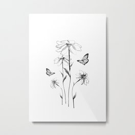 Flowers and butterflies 2 Metal Print