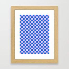 Cotton Candy Pink and Brandeis Blue Checkerboard Framed Art Print