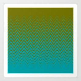 gradient chevron pattern aqua olive Art Print