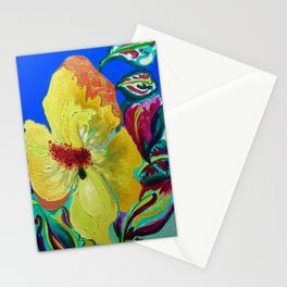 Birthday Acrylic Yellow Orange Hibiscus Flower Painting with Red and Green Leaves Stationery Cards