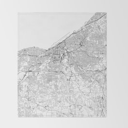 Cleveland White Map Throw Blanket