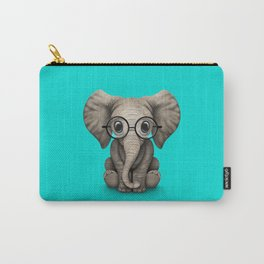 Cute Baby Elephant Calf with Reading Glasses on Blue Carry-All Pouch