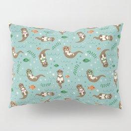 Kawaii Otters Playing Underwater Pillow Sham