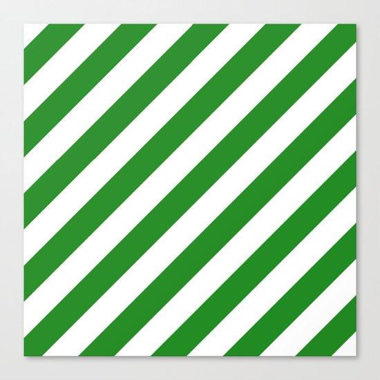 Diagonal Stripes (Forest Green/White) Canvas Print