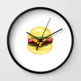 Watercolor burger Wall Clock