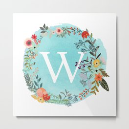 Personalized Monogram Initial Letter W Blue Watercolor Flower Wreath Artwork Metal Print
