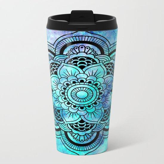 Galaxy Mandala Aqua Indigo Metal Travel Mug