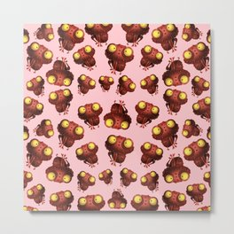 Cute Frog With Pink Background Metal Print