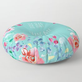 He has made me glad Bible quote Floor Pillow
