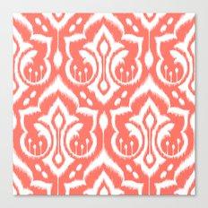 Ikat Damask Coral Canvas Print