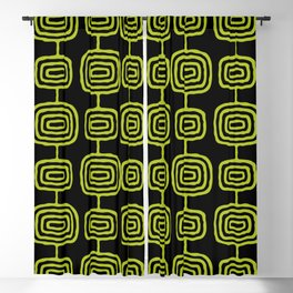 Mid Century Modern Atomic Rings Pattern Black and Chartreuse Blackout Curtain