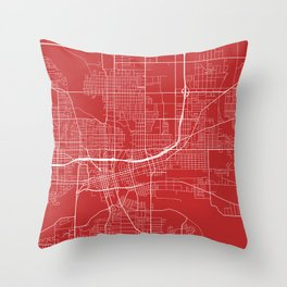 Des Moines Map, USA - Red Throw Pillow