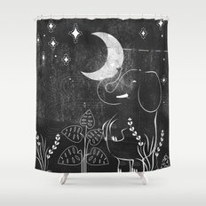 Elephant and Moon Shower Curtain