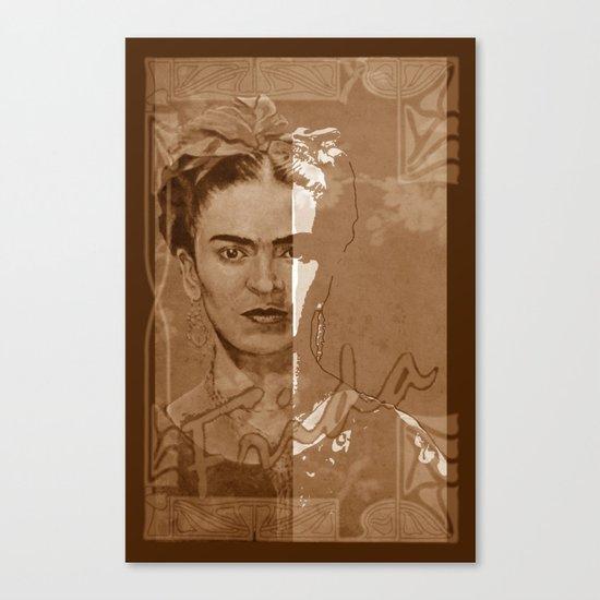 Frida Kahlo - between worlds - sepia Canvas Print