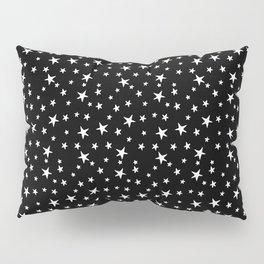 Mini Stars - White on Black Pillow Sham