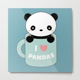 Kawaii I Love Pandas Metal Print