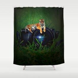 Tiger Camera by GEN Z Shower Curtain