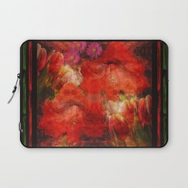 Floral impressionism in passionated red Laptop Sleeve