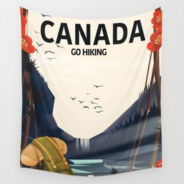 Canada - Go Hiking travel poster. Wall Tapestry