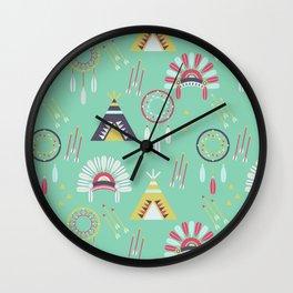 Indian Pattern Mint Wall Clock