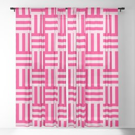 pink modern line pattern Sheer Curtain