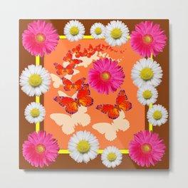 Chocolate Brown Fuchsia Pink Daisies Butterfly Art Metal Print