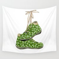 shoes Wall Tapestries featuring Floral Shoes by Yuliya