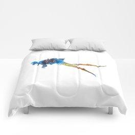Man scuba diver 01 in watercolor Comforters