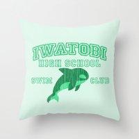 iwatobi Throw Pillows featuring Iwatobi - Orca by drawn4fans