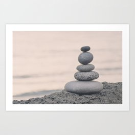 Stone Cairn At The Beach In Pastel Light Art Print