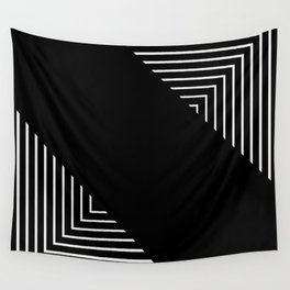 Modern Black and White Geometrical Patterns Wall Tapestry