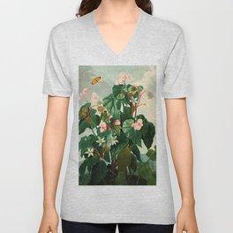 Pink Floral The Oblique-Leaved Begonias : Temple of Flora Unisex V-Neck