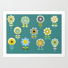 70ies inspired flowers Art Print