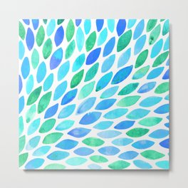 Watercolor brush strokes burst - turquoise and blue Metal Print