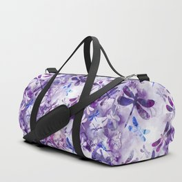 Dragonfly Lullaby in Pantone Ultraviolet Purple Duffle Bag