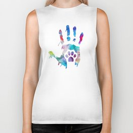 watercolor Hand/Paw Biker Tank