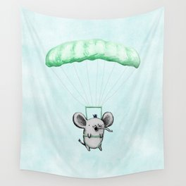 Cutie Parachuting Elephant Wall Tapestry