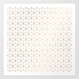 Gold Geometric Pattern on White Background Art Print