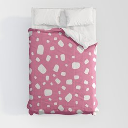 White abstract vector shapes over pink background seamless pattern Comforters