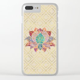Watercolor & Gold paisley decorated lotus Clear iPhone Case
