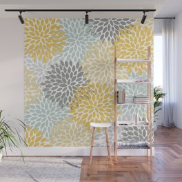 Floral Pattern, Yellow, Pale, Aqua and Gray Wall Mural