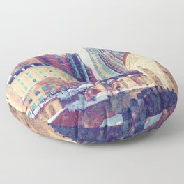 Minneapolis, Minnesota Skyline Stone Arch Bridge Floor Pillow