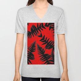 Chinese Red Oriental Style Black Ferns Unisex V-Neck