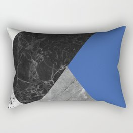 Black and white marbles and pantone lapis blue color Rectangular Pillow